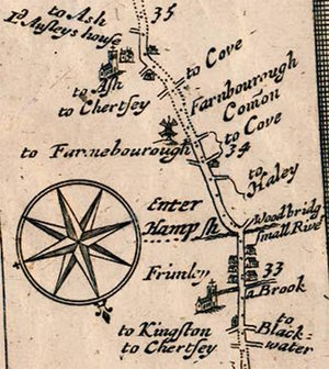 Frimley - Frimley shown on the map The Road from London to Southampton by John Ogilby dated 1675