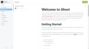 Ghost v0.11.9's Admin Control Panel