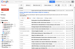 Google Reader - Image: Google Reader interface