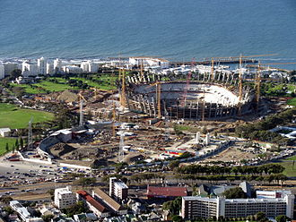 Green Point Stadium - Demolition of the Green Point Stadium (foreground) to make way for the new Cape Town Stadium (background)