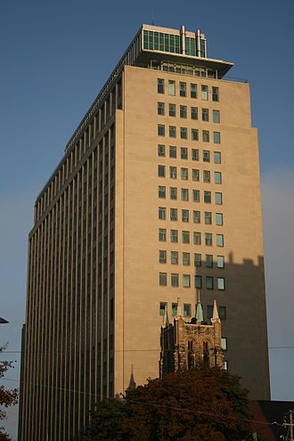 Imperial Oil Building - The Imperial Oil Building from the west, giving a better view of the observation deck at its top