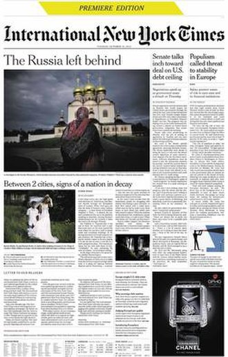 The New York Times International Edition - Front page of the International New York Times of October 15, 2013, the first to be issued under this name before being integrated into The New York Times International Edition in October 2016