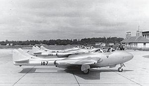 Irish Air Corps - 1955 Defence Forces image of Air Corps de Havilland Vampire T-11 Trainers