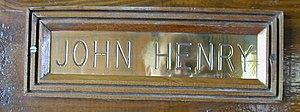 John Henry (horse) - John Henry's brass nameplate