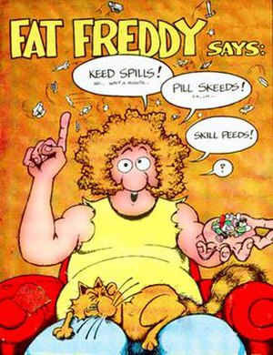 The Fabulous Furry Freak Brothers - Fat Freddy, with his cat