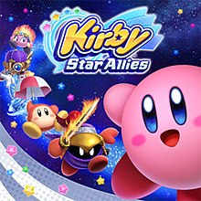 "The main character Kirby, taking up the majority of the right-side foreground, waves at the viewer as his friends fly towards him on the left side of the artwork in the background. The words ""Kirby Star Allies"" are presented in a stylised logo at the bottom of the image, and the artwork is decorated with blue and white decals and colorful stars."