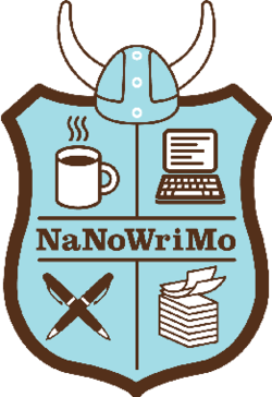 The NaNoWriMo coat of arms. Clockwise from the top left quarter; a mug of coffee, a laptop, a stack of papers and two crossed pens all set on a pale blue background.