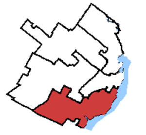 Louis-Hébert (electoral district) - Louis-Hébert in relation to other Quebec City federal electoral districts.