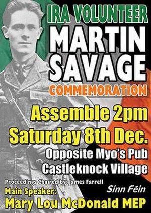 Martin Savage - Poster for Volunteer Martin Savage Commemoration