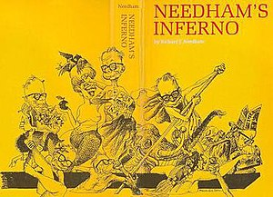 Duncan Macpherson - Jacket of best-selling Needham's Inferno (Macmillan of Canada, 1966), winner of the Stephen Leacock Memorial Medal for Humour.  Illustration by Duncan Macpherson.