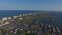Aerial view of houses and large hotels in Ocean City