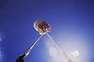 Malfunction (parachuting) - Twisted parachute lines immediately after deployment