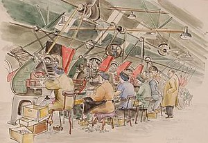 Pegaret Anthony - 'Women at Work' (c.1943), an example of Anthony's watercolour paintings of war workers during World War II