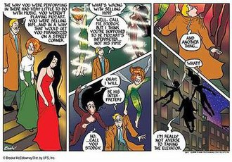"""Pibgorn (webcomic) - Geoff, Pibgorn, and Drusilla exit a nightclub in the beginning of the story, """"Mozart and The Demon Lover."""""""