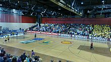 Gorenje Velenje vs Cimos Koper during a league match, infront of a sold out crowd.