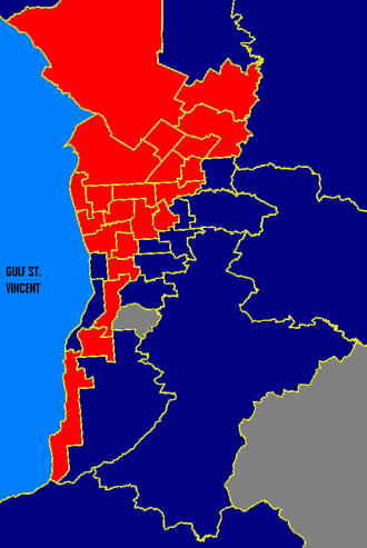 South Australian state election, 2002 - Metro SA: ALP in red, Liberal in blue, Independents in white. These boundaries are based on the 2006 electoral redistribution.