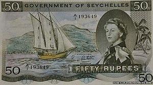 Bradbury Wilkinson and Company - Image: Seychelles 1968 1975 25 Rupee Note
