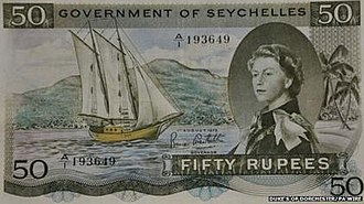 "Bradbury Wilkinson and Company - Seychelles 50 rupee banknote circa 1971 featuring Queen Elizabeth II and the hidden word ""sex"" to the right."