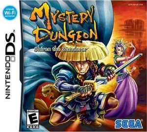 Mystery Dungeon: Shiren the Wanderer - North American cover, featuring (left to right) Koppa, Shiren, and Oryu