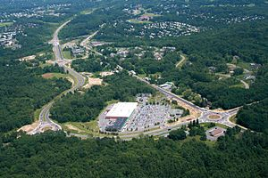 Slingerlands, New York - Aerial view of Slingerlands Bypass (to the left) and New Scotland Road (to the right).