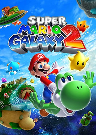 Super Mario Galaxy 2 - Packaging artwork, depicting Mario and Yoshi in outer-space