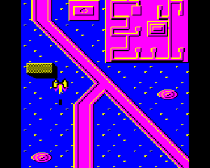 Syncron - Acorn Electron screenshot. The player is heading down the screen and has just passed a tall building.