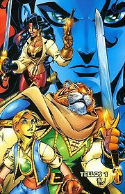 Promotional art for Tellos #1 (May 1999), by Wieringo.