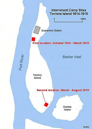 Torrens Island Concentration Camp - The two sites of the Torrens Island Internment Camp.
