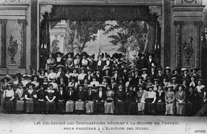 Bourse du Travail - A women's convention at the Troyes Bourse, c. 1900