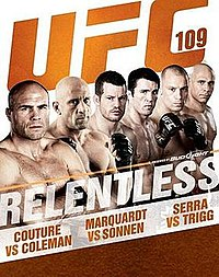 A poster or logo for UFC 109: Relentless.