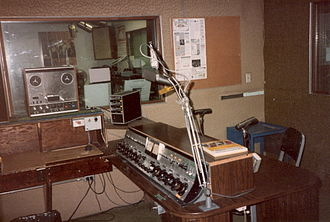 WMNY - WKPA talk studio at 810 Fifth Avenue. The former WYDD on-air studio is in the background, and the WKPA main on-air studio could be viewed through the window at the right (partially hidden).