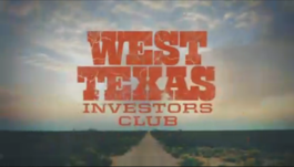 The title card of the program, with the title West Texas Investors Club superimposed over a desert road and cloudy sky.