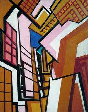 Wyndham Lewis - Workshop, c. 1914–15 by Wyndham Lewis, in the Tate Collection
