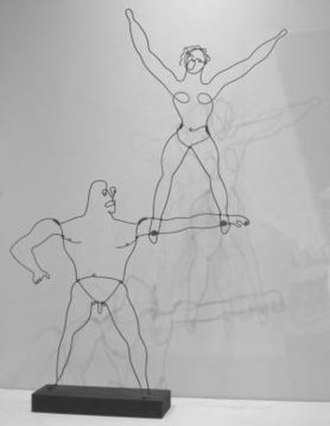 Alexander Calder - Hi! (Two Acrobats) by Alexander Calder, c. 1928, brass wire and wood, Honolulu Museum of Art