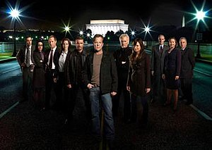 24 (season 7) - Season 7 main cast: (from left to right) Rhys Coiro, Janeane Garofalo, Jeffrey Nordling, Annie Wersching, Carlos Bernard, Kiefer Sutherland, James Morrison, Mary Lynn Rajskub, Colm Feore, Cherry Jones, and Bob Gunton