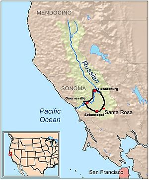 Map outline of the Russian River Valley AVA in...