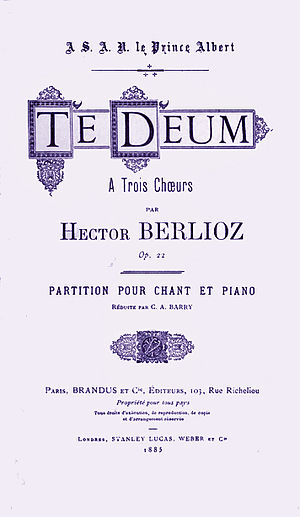 Te Deum (Berlioz) - 1883 vocal score of the Berlioz Te Deum