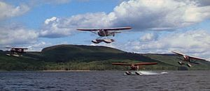 Captains of the Clouds - Among the bush planes that were featured in the production was the Noorduyn Norseman seen touching down, and the Fairchild 71C above it