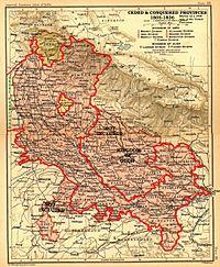 Mappa di Uttarakhand come parte della Provincia Unita