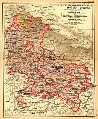 Ceded and Conquered Provinces - A more detailed map showing the Ceded and Conquered Provinces on a later (1908) map of the United Provinces.