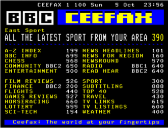 Ceefax - A BBC Ceefax page from 5 October 2008