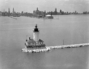 Chicago Harbor Light - 1930s U.S. Coast Guard photo of the light