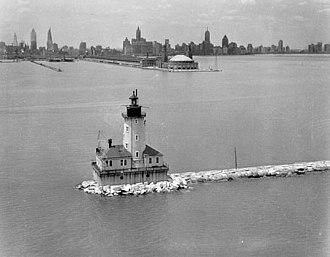 Chicago Harbor Light - 1930s U.S. Coast Guard photo of the light
