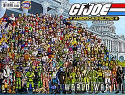 Standing in front of the White House is a huge group of G.I. Joes.