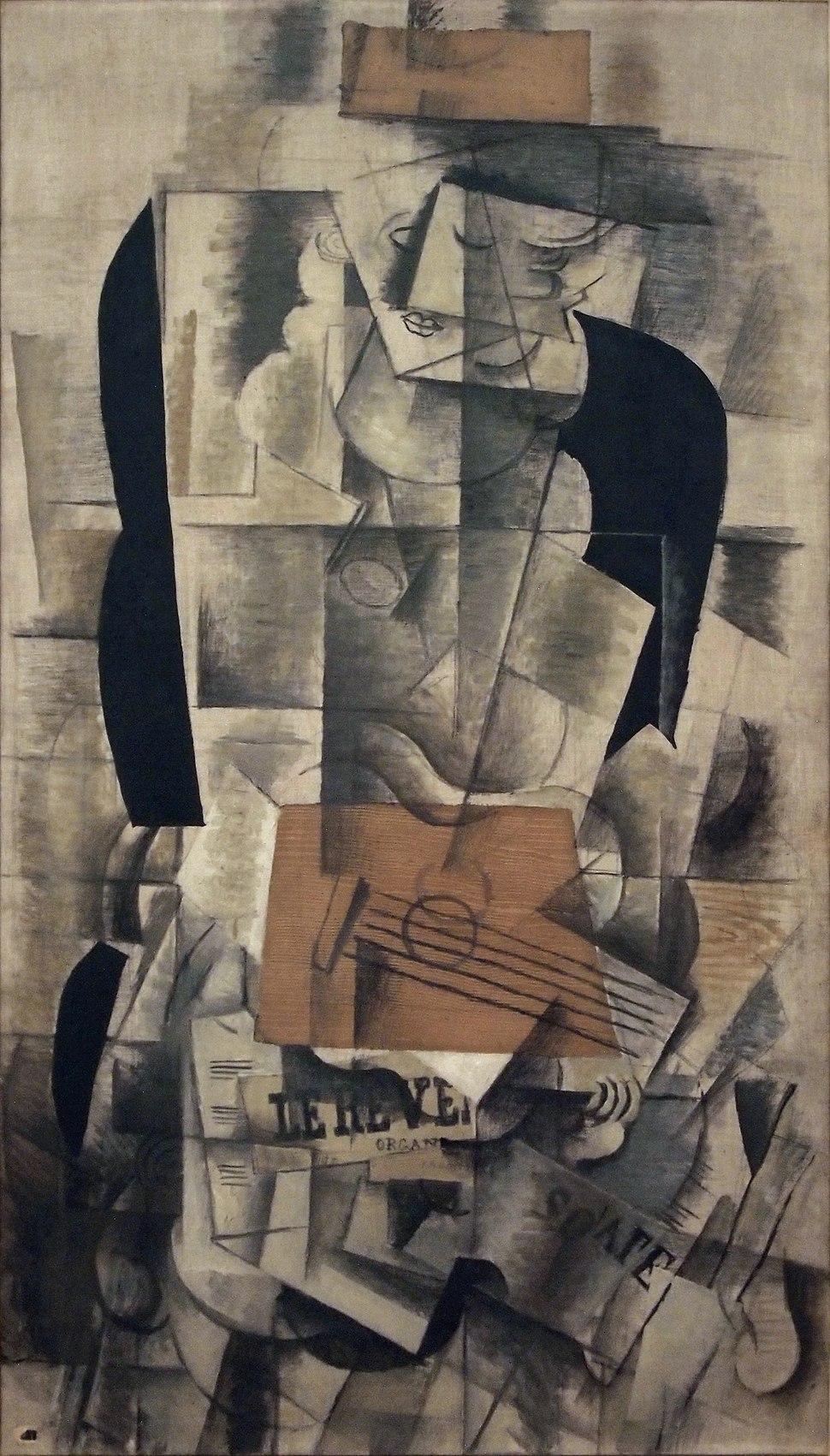 Georges Braque, 1913, Femme à la guitare (Woman with Guitar), oil and charcoal on canvas, 130 × 73 cm, Musée National d'Art Moderne, Centre Pompidou