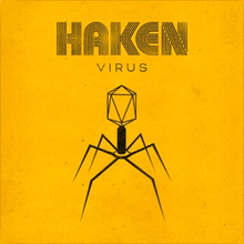 "Yellow square with the ""HAKEN"" and ""Virus"" written near the top and a silhouette of a Bacteriophage in the center."