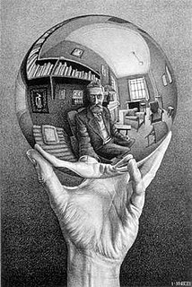 <i>Hand with Reflecting Sphere</i> Lithograph by Dutch artist M. C. Escher