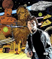 Drawing of a man pointing a pistol at the viewer. In the background looms a monster and an ape figure, while some spaceships fly by in a starry sky.