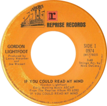 If You Could Read My Mind by Gordon Lightfoot (Canadian single).png