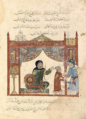 Muslim world - The Spinning wheel is believed to have been invented in the medieval era (of what is now the Greater Middle East), it is considered to be an important device that contributed greatly to the advancement of the Industrial Revolution. (scene from Al-Maqamat, painted by al-Wasiti 1237)